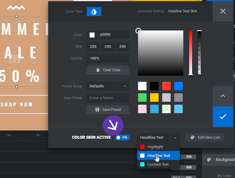 [Slider Revolution 6] Color Skin Templates for Layers / Background Colors
