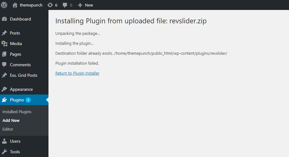"[Slider Revolution 6] When installing our plugin, if you're shown a ""Destination folder already exists"", this can be solved by following the steps below."